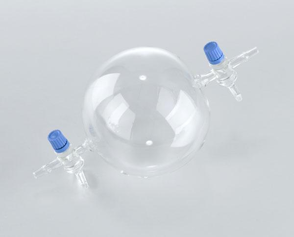 Kugel mit 2 Hähnen (Gaswägekugel), 1 l