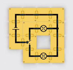 Umschaltung - Aufbau mit Leitungsbausteinen