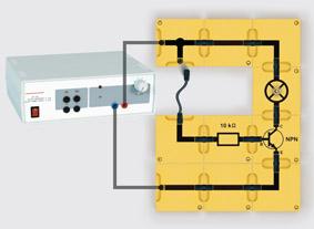 Arbeitsweise eines Transistors - Aufbau mit Leiterbausteinen